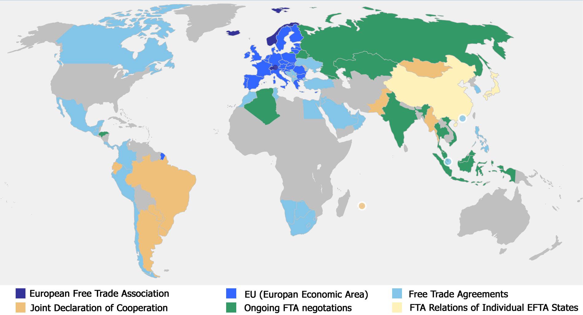 Kart over EFTAs frihandelsavtaler