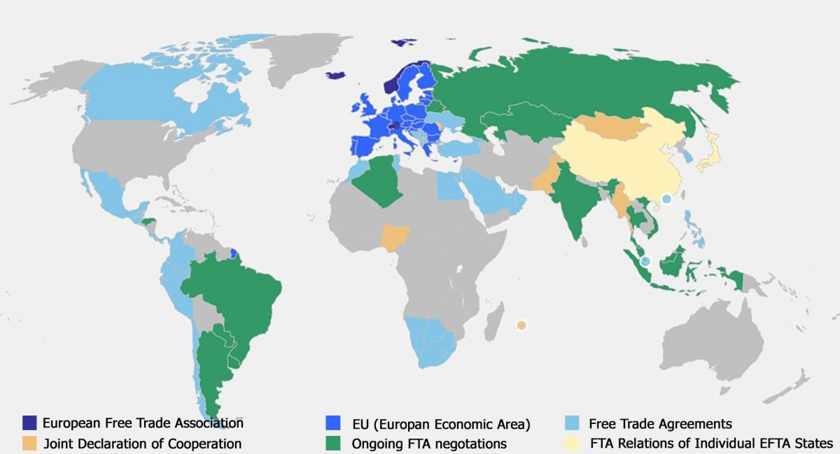 Free Trade Map European Free Trade Association