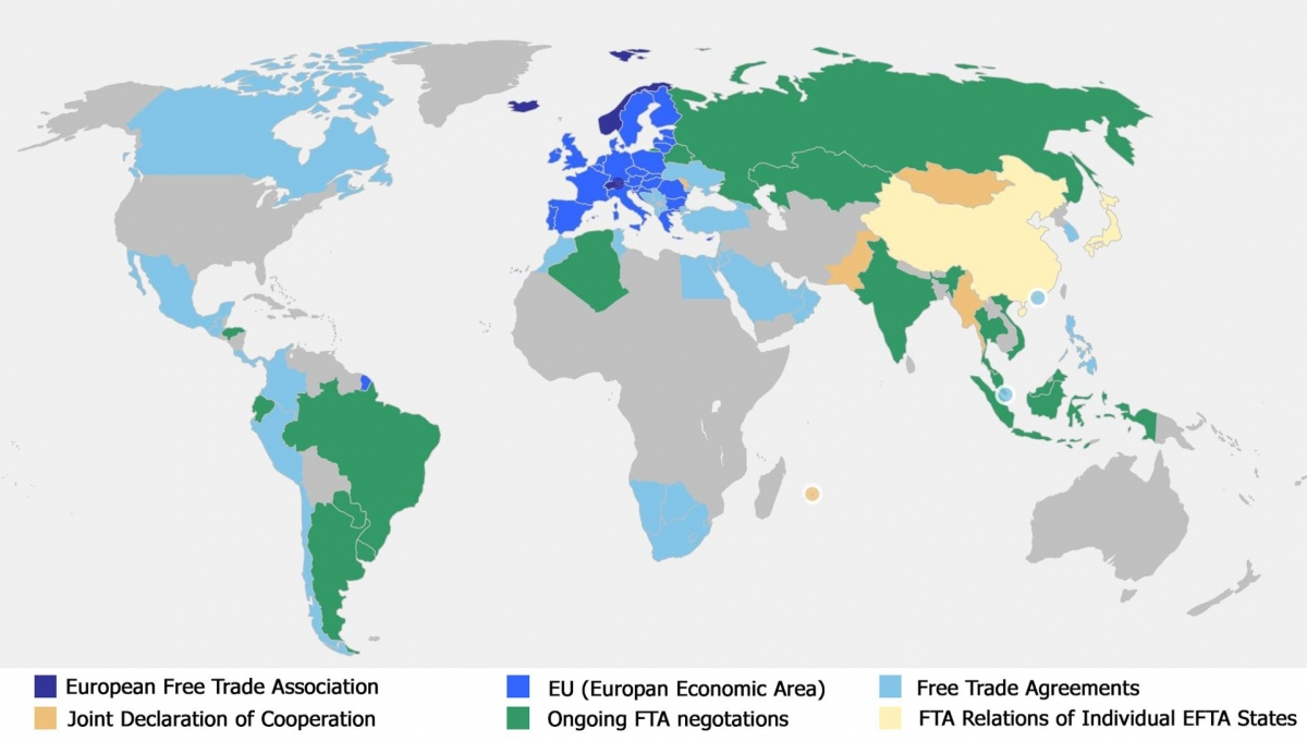 Free trade map european free trade association free trade map publicscrutiny