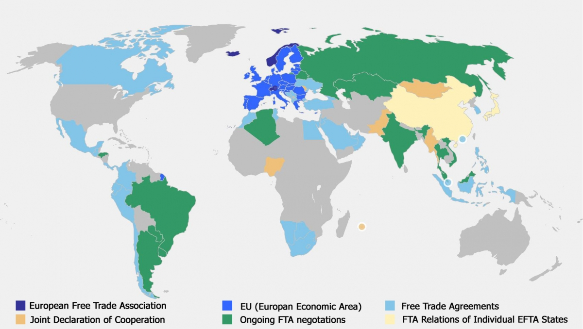 european union free trade agreements list