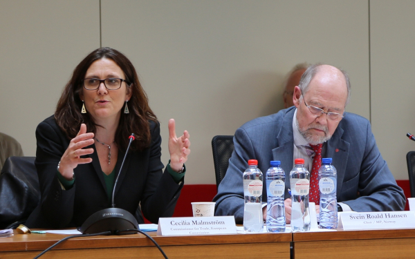 Ms Cecilia Malmström, EU Commissioner for Trade, and Mr Svein Roald Hansen, Chair of the EFTA Parliamentary Committee.