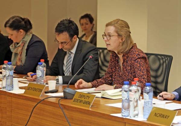 From left: Ms Bergdís Ellertsdóttir, Ambassador, Mission of Iceland to the EU, Mr Stefan Barriga, Minister, Deputy Head of Liechtenstein Mission to the EU, Ms Sabine Monauni, Ambassador of Liechtenstein Mission to the EU