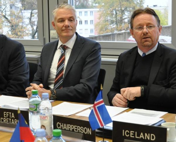 From left: Mr Adalsteinn Leifsson, Director, Secretary-Generals Office, EFTA, Mr Högni Kristjánsson, Head of Iceland's Mission to the International Organizations in Geneva