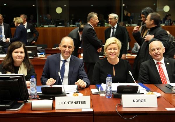 From left: Ms Bergdís Ellertsdóttir, Ambassador, Mission of Iceland to the EU, Mr Adrian Hasler, Prime Minister and Minister of Finance of Liechtenstein, Ms Siv Jensen, Minister for Finance of Norweay, and Mr Ueli Maurer, Federal Councillor, Head of the Federal Department of Finance Switzerland.