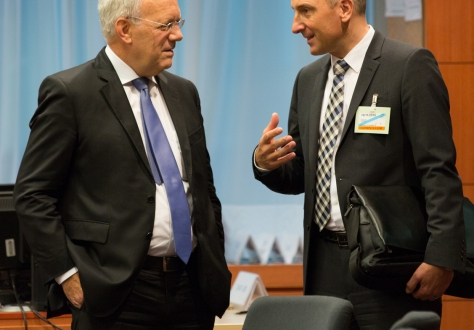 Johann N. Schneider-Ammann, Head of the Federal Department of Economic Affairs, Education and Research in Switzerland and Adrian Hasler, Prime Minister and Minister of Finance of Liechtenstein