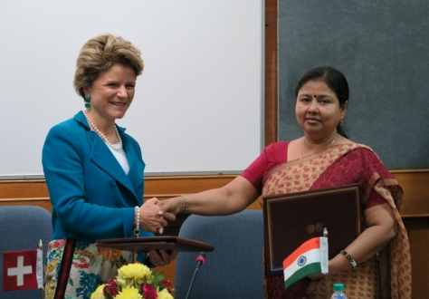 State Secretary Ms Marie-Gabrielle Ineichen-Fleisch from Switzerland (on the left) acted as the EFTA Spokesperson, while the Indian side was led by Ms Anita Praveen, Joint Secretary in the Department of Commerce of the Government of India (on the right)