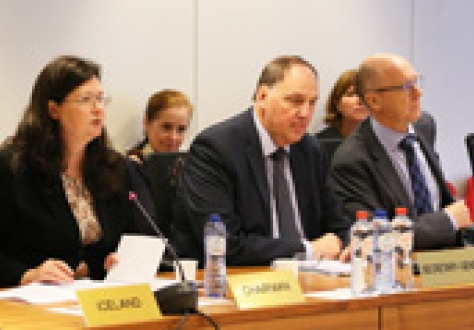 Ambassador Bergdís Ellertsdóttir, Mission of Iceland to the EU, Kristinn Árnason, EFTA Secretary General, and Dag Wernø Holter, Deputy Secretary-General, at the meeting today.