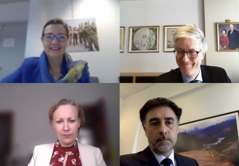Clockwise from top left: Clara Ganslandt, Head of Western Division at the EEAS and EU Chair in the Joint Committee, Rolf Einar Fife, Head of Norway's Mission to the EU, Stefan Barriga, Deputy Head of Liechtenstein's Mission, Sesselja Sigurðardóttir, Deputy Head of Icelandic Mission