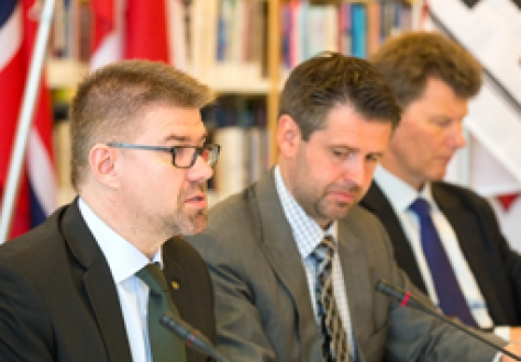 Mr Gunnar Brage Sveinsson, Minister for Foreign Affairs and External Trade, Iceland, charing EFTA's Ministerial Meeting at the Westman Islands on 23 June 2014. To his left: Mr Martin Ejólfsson, Ambassador, Permanent Representative to EFTA Permanent Mission of Iceland, Geneva, and Mr Thorir Ibsen, Ambassador of Iceland to the EU, Brussels