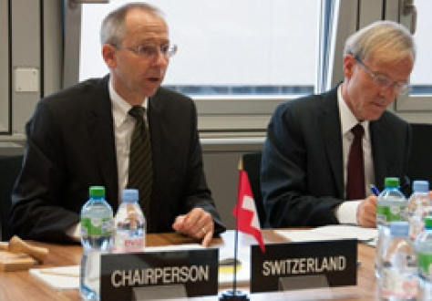 Ambassador Remigi Winzap of Switzerland, Chair of the EFTA Council, and Marc Wey, Deputy Permanent Representative of the Mission of Switzerland to EFTA and WTO