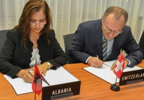 Ambassador Filloreta Kodra, Albania, and Ambassador Didier Chambovey, Switzerland