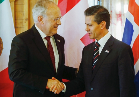 President of the Swiss Confederation, Johann N. Schneider-Ammann, (EFTA Chair), and President of Mexico, Enrique Peña Nieto (Photo: Eddy Risch, Liechtenstein)