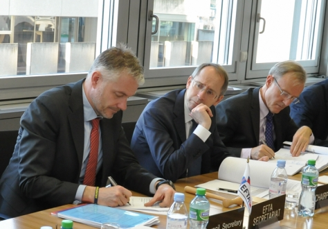 From left: Adalsteinn Leifsson, Director, EFTA Secretariat; Ambassador Remigi Winzap of Switzerland, Chair of the EFTA Council; Marc Wey, Deputy Permanent Representative of the Mission of Switzerland to EFTA and WTO