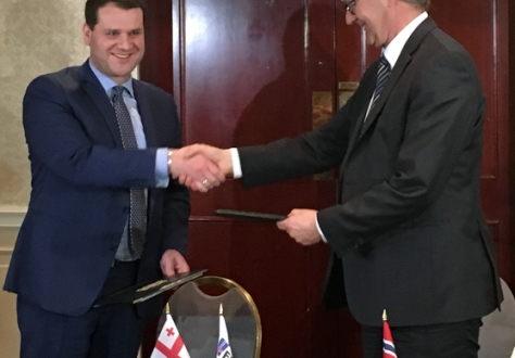From Left: Mr Genadi Arveladze, Deputy Minister of Economy and Sustainable Development and Mr Jan Farberg, Director-General of the Ministry of Trade, Industry and Fisheries of Norway