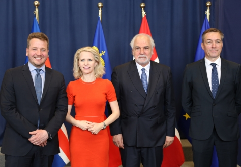 From left: Mr Guðlaugur Þór Þórðarson, Minister of Foreign Affairs of Iceland, Ms Aurelia Frick, Minister of Foreign Affairs of Liechtenstein, Mr Louis Grech, Deputy Prime Minister and Minister for EU Affairs of Malta (EU Presidency), and Mr Frank Bakke-Jensen, Minister of EEA and EU Affairs of Norway.
