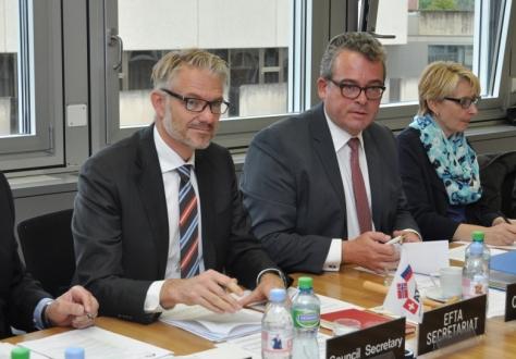 Secretary-General Mr Kristinn F. Árnason and Director of the Secretary-General's Office, Mr Adalsteinn Leifsson, conducted the seventh meeting of the EFTA Council. The meeting was chaired by Liechtenstein Ambassador Mr Peter Matt.