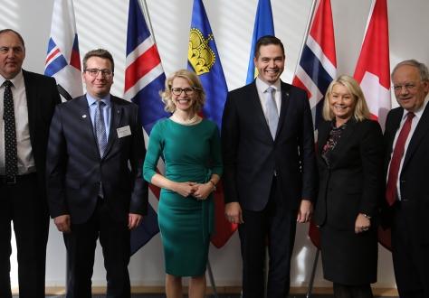From left: Mr Kristinn F. Árnason, Secretary-General, EFTA; Mr Guðlaugur Þór Þórðarson, Iceland; Ms Aurelia Frick, Liechtenstein; Moldovan Ambassador Tudor Ulianovschi; Ms Monica Mæland, Norway; Johann N. Schneider-Ammann, Switzerland.
