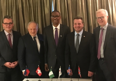 From left: Peter Matt, Liechtenstein, Johann N. Schneider-Ammann, Switzerland, Okechukwu Enelamah, Nigeria, Guðlaugur Þór Þórðarson, Iceland; Harald Neple, Norway.