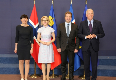 From left:  Ine Eriksen Søreide, Minister of Foreign Affairs of Norway, Aurelia Frick, Minister of Foreign Affairs of Liechtenstein, Guðlaugur Þór Þórðarson, Minister for Foreign Affairs of Iceland, Michel Barnier, Chief Brexit Negotiator of the EU.