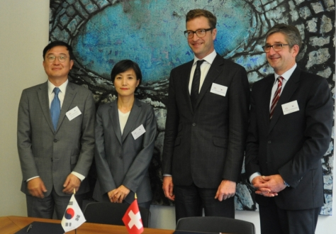 Mr Jeongil Kim, Director General for FTA Policy, Ms Jihye Lee, Director, International Cooperation Office, Mr Christophe Perritaz, Head of Non-Tariff Measures Division, SECO, Ambassador Markus Schlagenhof, Head of World Trade Division, SECO.