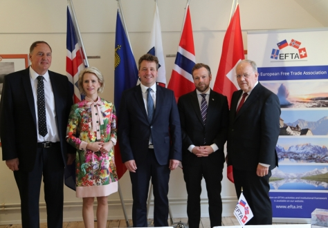 From left: Mr Kristinn F. Árnason, Secretary-General of EFTA, Ms Aurelia C.K. Frick, Minister for Foreign Affairs, Justice and Culture of Liechtenstein, Mr Guðlaugur Þór Þórðarson, Minister for Foreign Affairs and External Trade of Iceland and Chair of the EFTA Council at Ministerial Level, Mr Torbjørn Røe Isaksen, Minister of Trade and Industry of Norway, Mr Johann N. Schneider-Ammann, Federal Councillor, Head of the Federal Department of Economic Affairs, Education and Research of Switzerland.