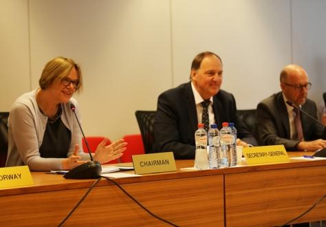 From left: Oda Sletnes, Ambassador of Norway and Chair of the Joint Committee, Kristinn F. Árnason, EFTA Secretary-General, Dag Wernø Holter, EFTA Deputy Secretary-General.