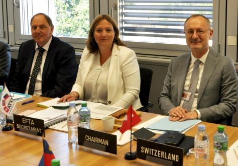 From left: Kristinn F. Árnason, EFTA Secretary-General, Ylva Bie, Senior Legal Adviser, Didier Chambovey, Ambassador and Permanent Representative of Switzerland to EFTA, Chair of the EFTA Council.