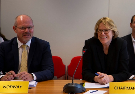 The meeting was chaired by Oda Sletnes, Norway's Ambassador to the EU (right), with minister councellor Knut Hermansen (left).