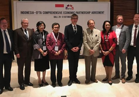 From left: Martin Zbinden, Director of Trade Relations Division, EFTA Secretariat, Patrick Ritter, Liechtenstein Head of Delegation, Sondang Anggraini, Senior Official, Ministry of Trade, Indonesia, Muliaman Dharmansyah Hadad, Indonesian Ambassador to Switzerland, Markus Schlagenhof, Swiss Head of Delegation and EFTA Spokesperson, Soemadi D.M. Brotodiningrat,  Chief Negotiator, Indonesia, Ni Made Ayu Marthini, Deputy Chief Negotiator, Indonesia, Andri Júlíusson, Icelandic Head of Delegation, Ove Christian O