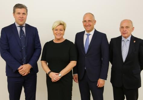 From left: Bjarni Benediktsson, Siv Jensen, Adrian Hasler, Ueli Maurer.