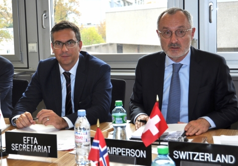 The meeting was chaired by Swiss Ambassador Didier Chambovey (right), with EFTA Deputy Secretary-General Pascal Schafhauser (left).