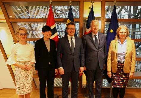 From left: Ms Aurelia Frick, Ms Ine Marie Eriksen Søreide, Mr Guðlaugur Þór Þórðarson, Mr Michel Barnier, Ms Karin Kneissl.