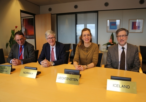 The agreement was initiated at the EFTA Secretariat in Brussels. From left: Ivan Smyth, Legal Counsellor of the UK representation to the EU, Rolf Einar Fife, Ambassador of Norway to the EU, Sabine Monauni, Ambassador of Liechtenstein to the EU, and Gunnar Pálsson, Ambassador of Iceland to the EU.