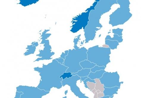 Map of EFTA and EU member states