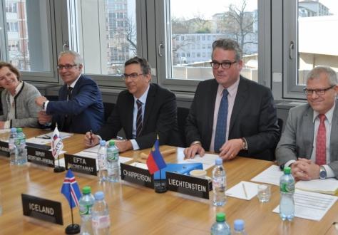 From left: Hege Marie Hoff, Deputy Secretary-General, Henri Gétaz, Secretary-General, Pascal Schafhauser, Deputy Secretary-General, Peter Matt, Ambassador of Liechtenstein (Chair), Patrick Ritter, Deputy Permanent Representative of Liechtenstein.
