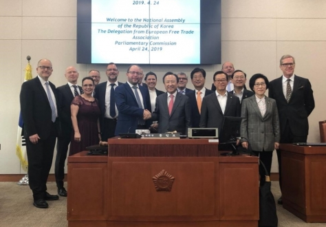 The EFTA Parliamentary Committee met with Honourable Hong Ilpyo in the National Assembly of the Republic of Korea