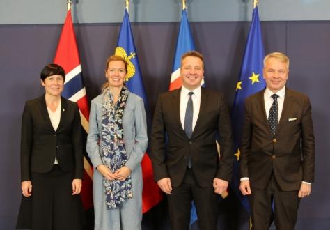 From left: Ine Marie Eriksen Søreide, Minister of Foreign Affairs of Norway, Sabine Monauni, Ambassador of Liechtenstein, Guðlaugur Þór Þórðarson, Icelandic Minister for Foreign Affairs (Chair), Pekka Haavisto, Minister for Foreign Affairs of Finland.