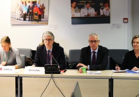 Norwegian Ambassador Rolf Einar Fife chaired on the EFTA side, here with Ingjerd Haugen first secretary (left), Henri Gétaz, EFTA Secretary-General, and Hege Marie Hoff, Deputy Secretary-General.