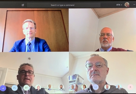 Ambassadors of the EFTA States, clockwise from top left: Harald Aspelund (Iceland, Dagfinn Sørli (Norway), Didier Chambovey (Switzerland, Chair), Peter Matt (Liechtenstein).