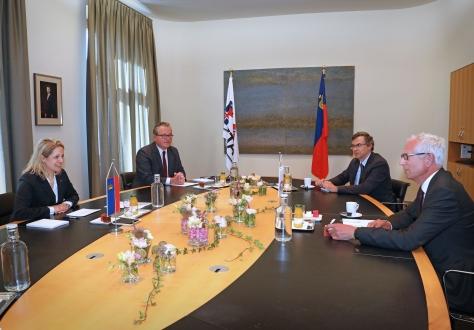 From left: Katrin Eggenberger, Liechtenstein Minister of Foreign Affairs, Peter Matt, Ambassador, Secretary-General Henri Gétaz and Deputy Secretary-General Pascal Schafhauser.
