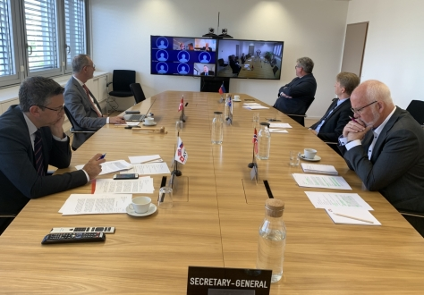 Delegates at the EFTA headquarters in Geneva, with other participants via videoconference.