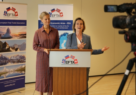 Brit Helle and Hege Marie Hoff reply to participants through videoconference