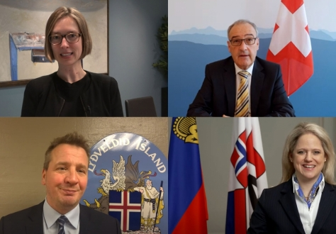 EFTA Ministers, clockwise from top left: Iselin Nybø (Norway) Guy Parmelin (Switzerland), Katrin Eggenberger (Liechtenstein), Guðlaugur Þór Þórðarson (Iceland).