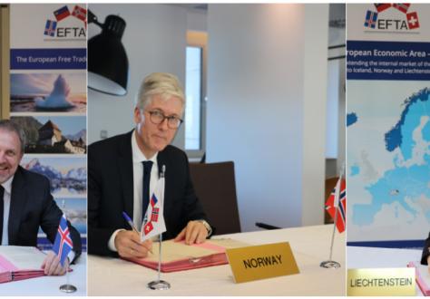 The three ambassadors signed separately in Brussels, from left: Kristján Andri Stefánsson (Iceland), Rolf Einar Fife (Norway), Sabine Monauni (Liechtenstein).