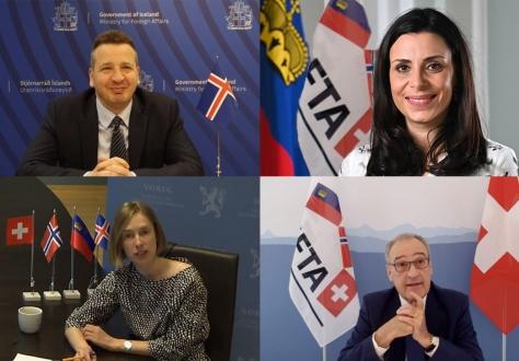 EFTA Ministers, clockwise from top left: Guðlaugur Þór Þórðarson (Iceland), Dominique Hasler (Liechtenstein), Guy Parmelin (Switzerland), Iselin Nybø (Norway, Chair).