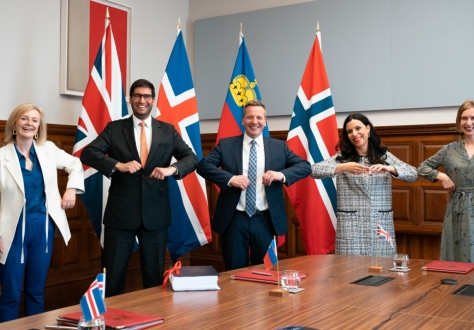 From left: Liz Truss, UK's International Trade Secretary, Ranil Jayawardena, UK's International Trade Minister, Guðlaugur Þór Þórðarson, Iceland's Foreign Minister, Dominique Hasler, Liechtenstein's Foreign Minister, Iselin Nybø, Norway's Minister of Trade and Industry.