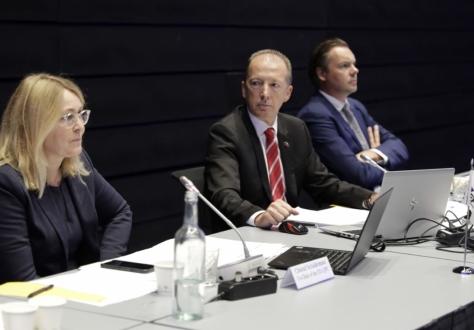 From left: Co-chairs Christel Schaldemose and Günter Vogt, Christophe Zufferey, EFTA Secretariat.