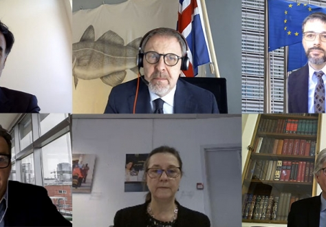 From left to right, top row: Stefan Barriga, Deputy Head of Liechtenstein's Mission, Chair Kristján Andri Stefánsson, Head of Iceland's Mission to the EU, Corneliu Hoedlmayr, Member of the European Commission's Legal Service. Lower row: Frederic Michiels, Deputy Head EU DG Trade, Clara Ganslandt, Head of Western Division at the EEAS and EU Chair in the Joint Committee, and Rolf Einar Fife, Head of Norway's Mission to the EU.