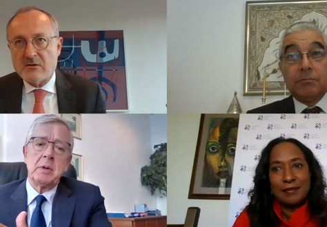 60th anniversary panel discussion, clockwise from top left: Moderator Didier Chambovey, Abdel-Hamid Mamdouh, Pamela Coke-Hamilton and João Aguiar Machado