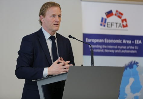 Head of Communication Thorfinnur Omarsson moderated the first EEA seminar in Geneva, Switzerland.